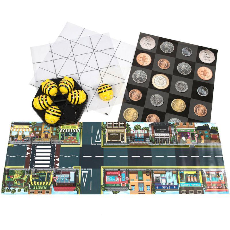 """Robotų """"Bee-bot"""" komplektas su kilimėliais"""