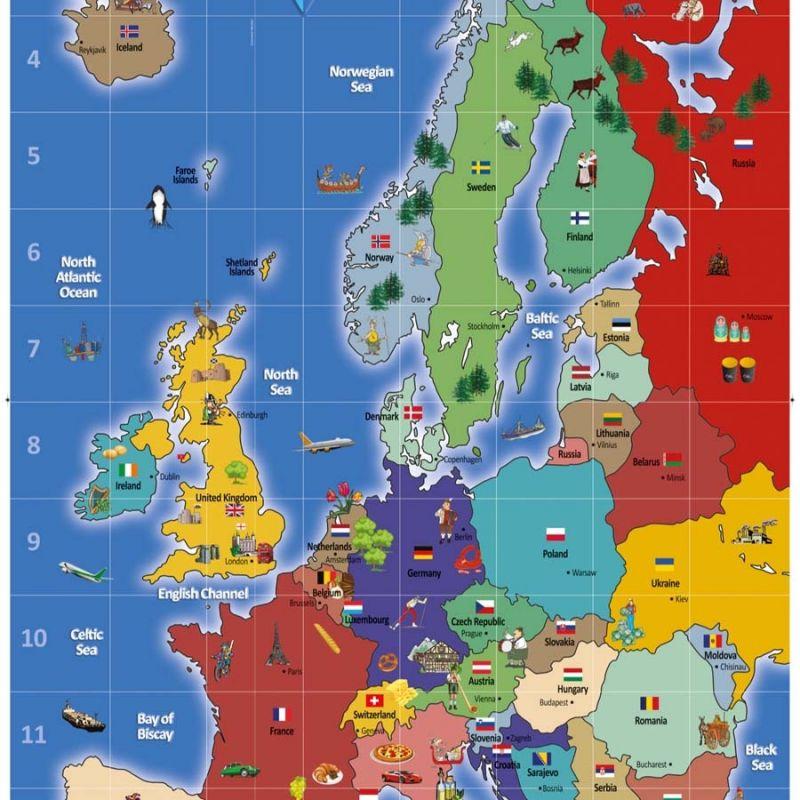 """Kilimėlis """"Europos žemėlapis"""" 2,1 x 1,2 m"""
