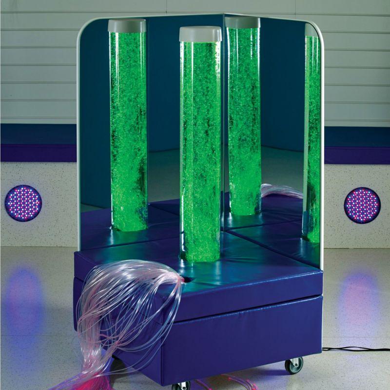 Mobilus burbulų vamzdžio kampelis su šviesos pluoštais